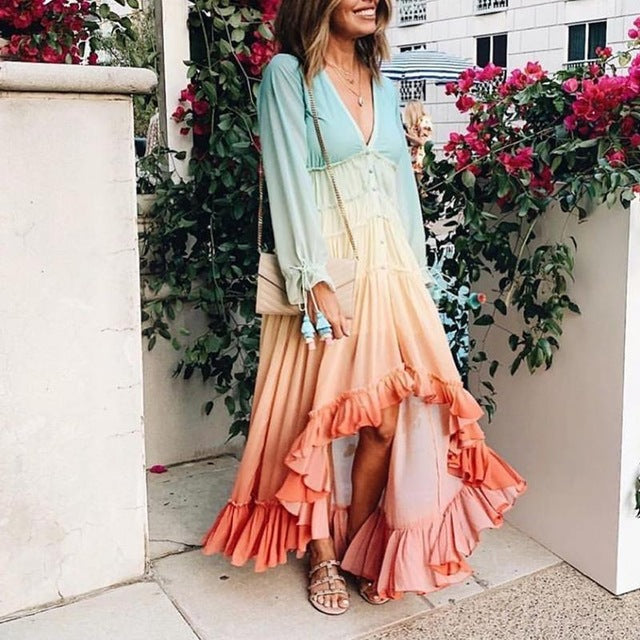 Long Sleeve Bohemian Maxi Ruffle Dress - mookyboutique