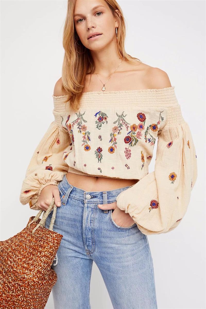 Flower Embroidered Off-Shoulder Bohemian Blouse - mookyboutique