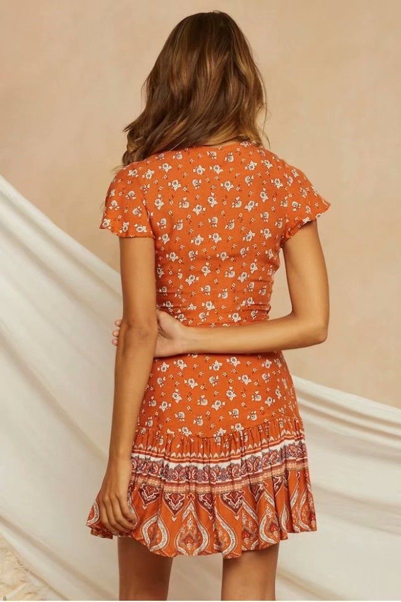 Floral Print Orange Mini Dress - mookyboutique