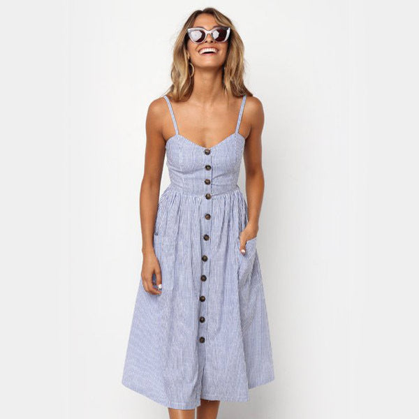 Cotton Button Striped High Waist Dress - mookyboutique