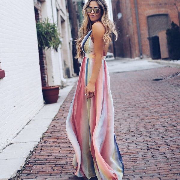 Chiffon Watercolor Bohemian Maxi Dress - mookyboutique