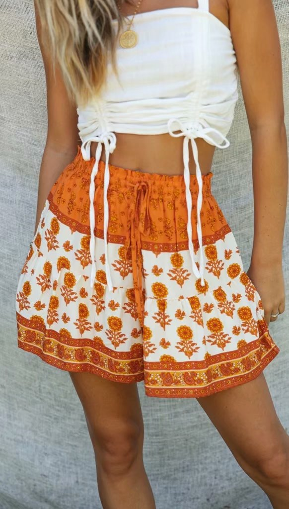 Hippie Floral Print Drawstring Shorts - mookyboutique