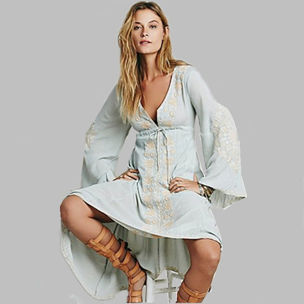 Boho Hippie Cotton Tunic Dress