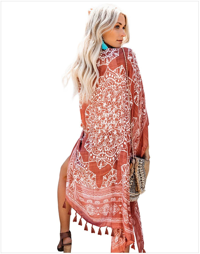 Tasseled Fringe Floral Print Cover Up