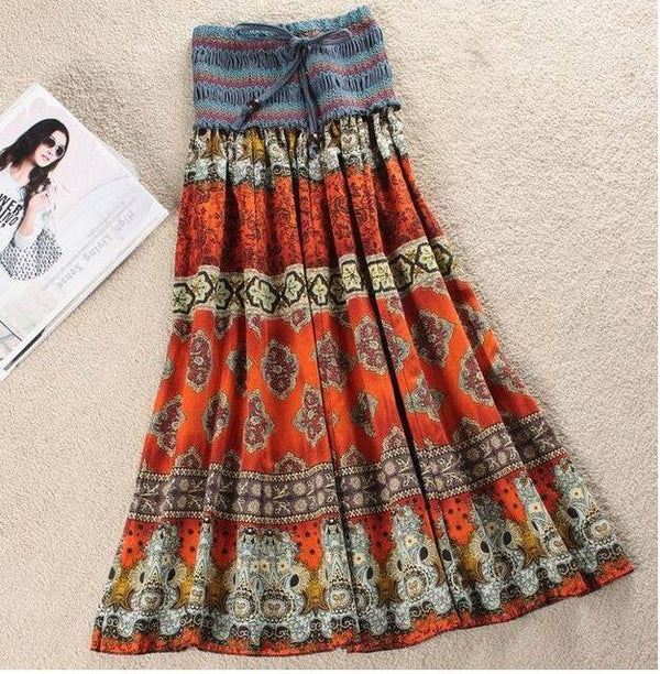 Elastic Waist Bohemian Style Flower Print Long Skirt - mookyboutique