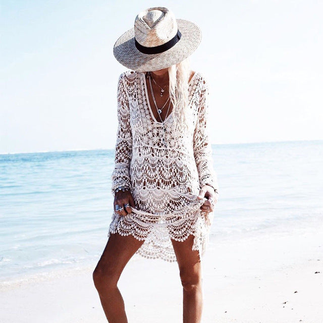 Boho Crochet Summer Beach Lace Coverup - mookyboutique