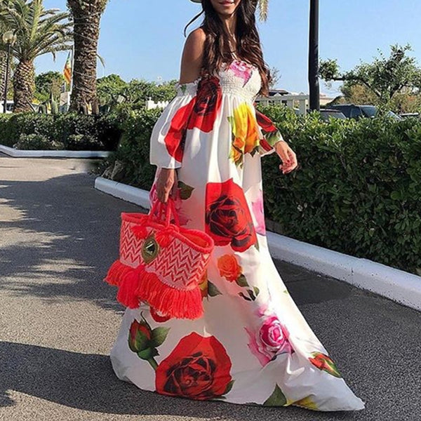 Off Shoulder Bohemian Floral Maxi Dress - mookyboutique