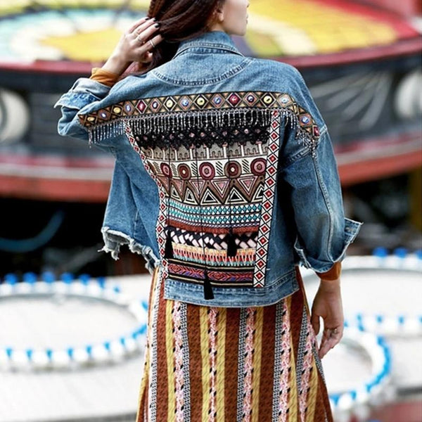 Denim Vintage Ethnic Boho Jacket - mookyboutique