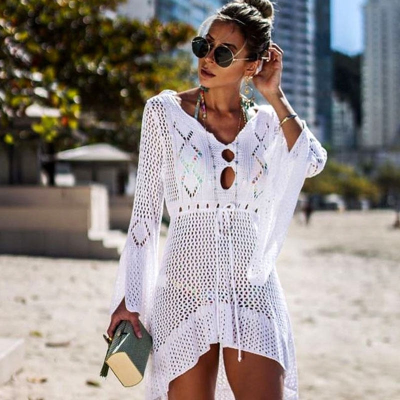 Crochet Beach Bohemian Dress - mookyboutique