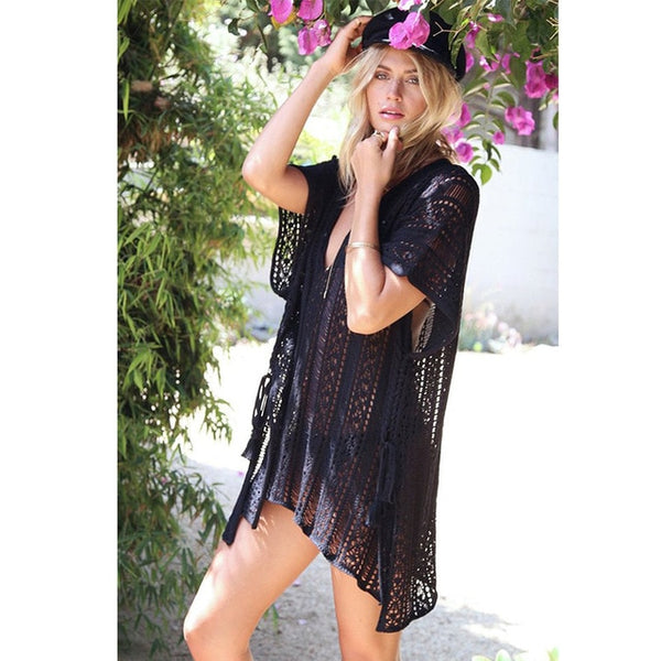 Knitted Boho Beach Cover-Up - mookyboutique