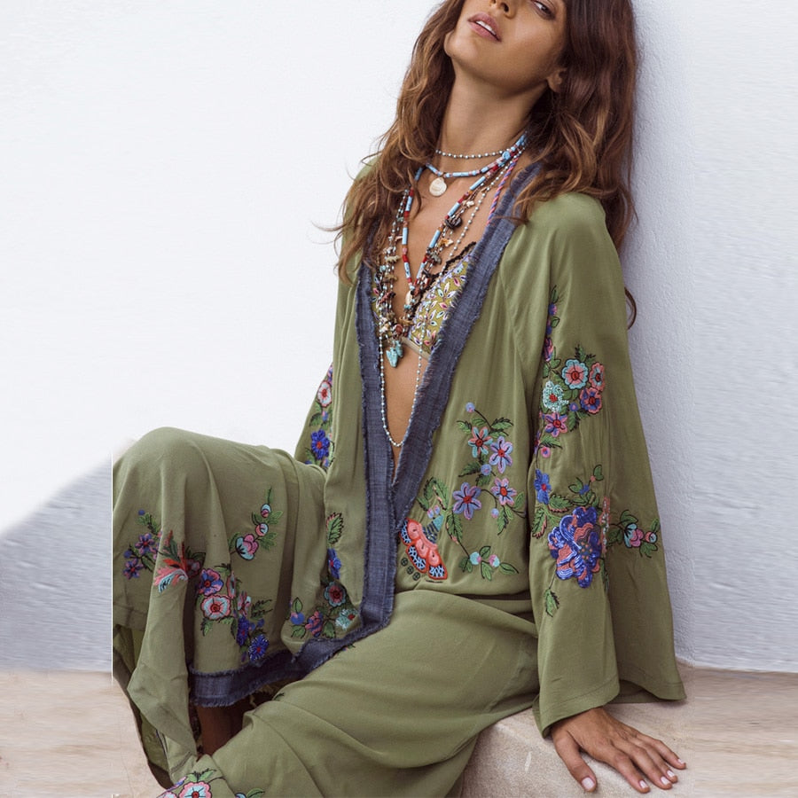 Floral Embroidered Long Boho Cardigan - mookyboutique
