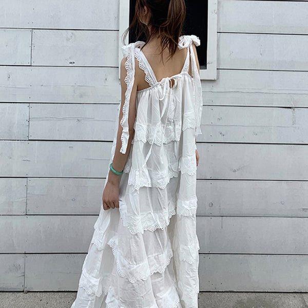 White Boho Maxi Dress - mookyboutique