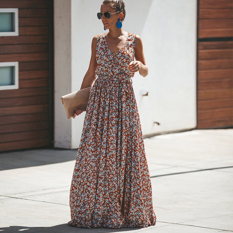 Maxi Floral Print Sleeveless Summer Dress - mookyboutique
