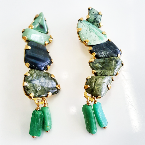 Jade stone sculpture earrings