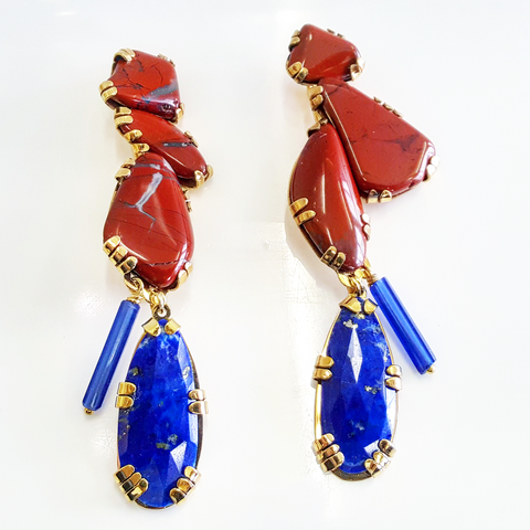 Lapis and Red Jasper 'Stone sculpture earrings'