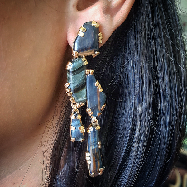 Black tiger stone sculpture earrings
