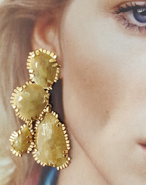 Yellow Sapphire balancing stone earrings