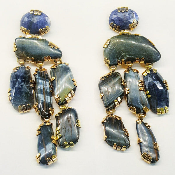 Blue Monday balancing stone sculpture earrings