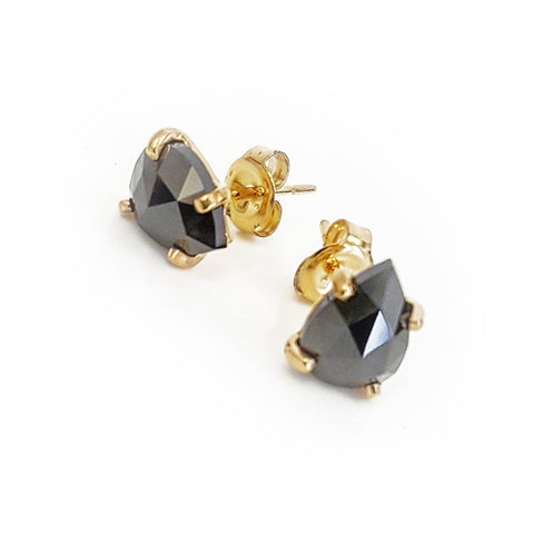 Black Diamond Tear Earrings