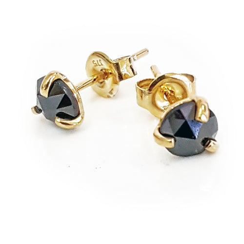 Black Diamond Round Earrings
