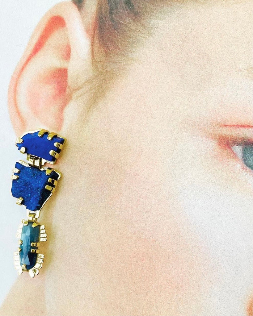 Blue sapphire and Lapis Lazuli balancing stone earrings