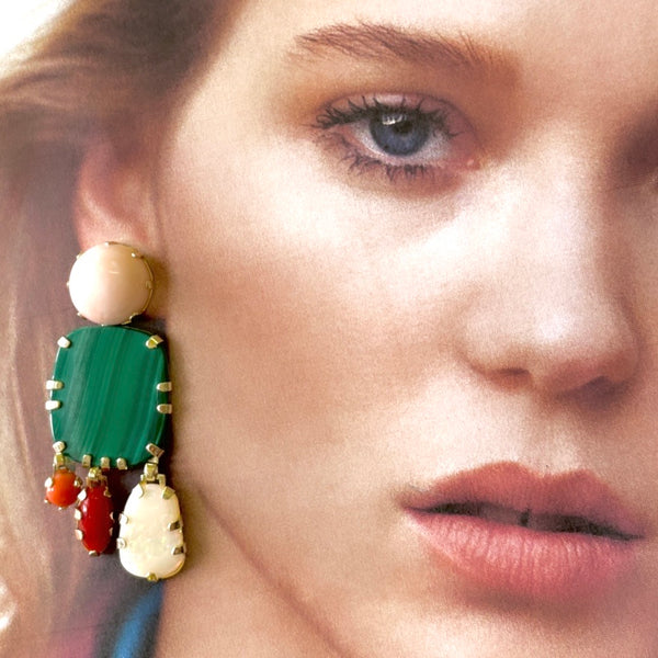 Opal, malachite and coral earrings in solid 9ct yellow gold.