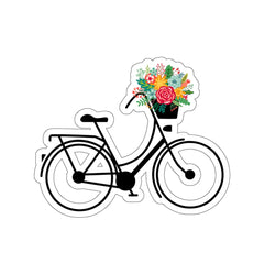 Bicycle and Flowers Kiss-Cut Stickers - Mycyclingpro