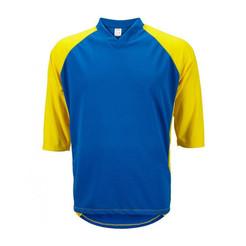 Mens 3/4 Sleeve Mountain Bike Jersey Blue/Yellow - Mycyclingpro