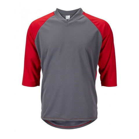 Mens 3/4 Sleeve Mountain Bike Jersey Gray/Red - Mycyclingpro