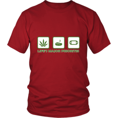 Life's Major Priorities Marijuana Themed T Shirt