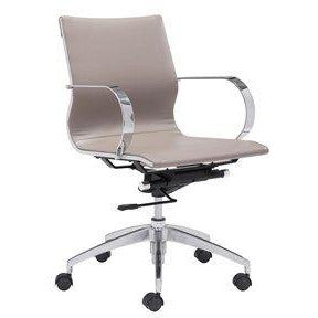 Taupe Leatherette Low Back Workspace Office Chair 27.6 x 27.6 x 36