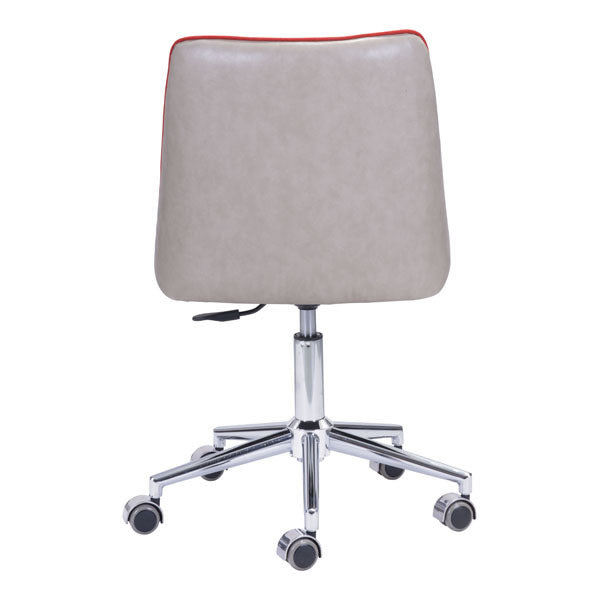 "HomeRoots Orange and Beige Polyblend Office Chair 24"" X 24"" X 35.8"""