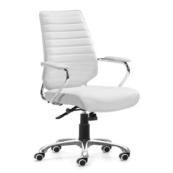 "White Angular Low Back Office Chair 25"" X 23.5"" X 40.5"""