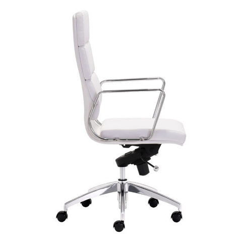 "White Executive High Back Chrome Office Chair 21"" X 26"" X 44.5"""