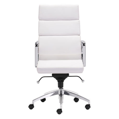 "Image of White Executive High Back Chrome Office Chair 21"" X 26"" X 44.5"""