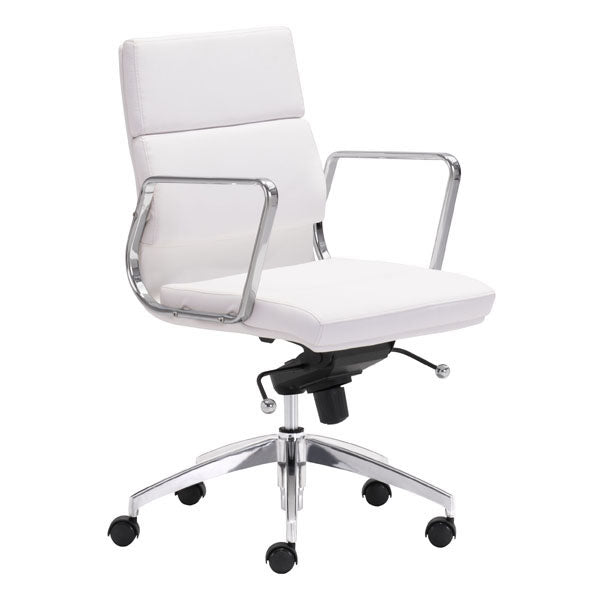 White Chromed Low Back Corporate Office Desk Chair