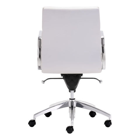 Image of White Chromed Low Back Corporate Office Desk Chair