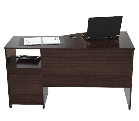 Curved Wood Top Espresso Writing Desk
