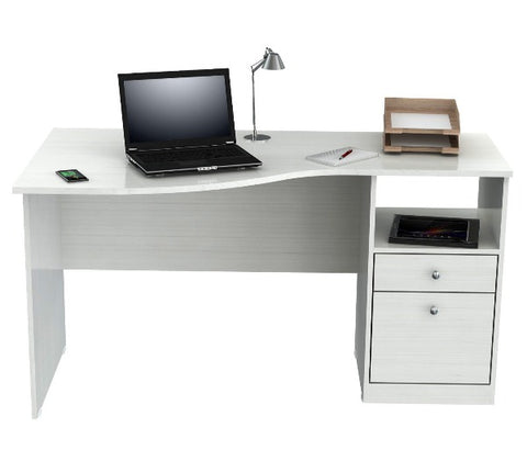 White Curved Wood Top Writing Desk
