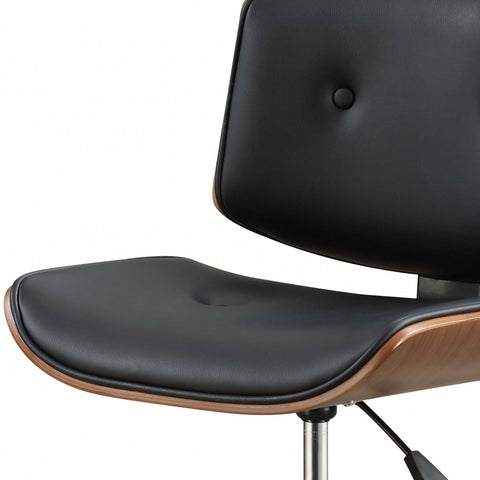 "Image of Black And Walnut Padded Home Office Chair 20"" X 22"" X 31"""