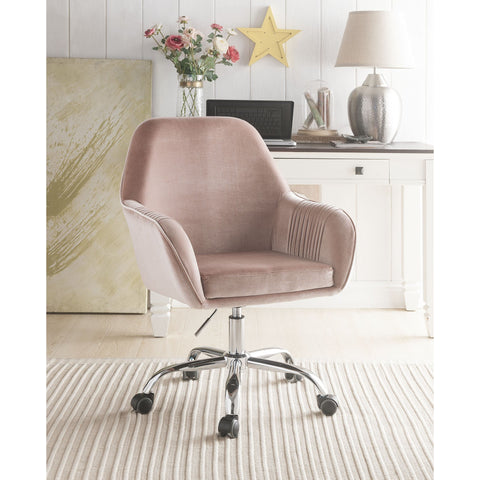 Image of Mauve Rose Velvet Office Chair