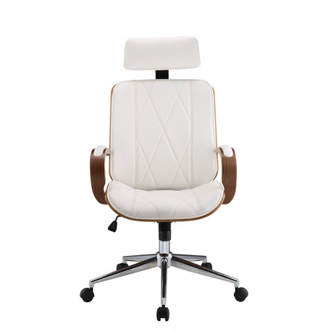 White Leatherette And Walnut Office Chair