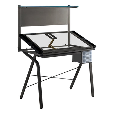 Homeroots Adjustable Drafting Artist Table, Tempered Glass