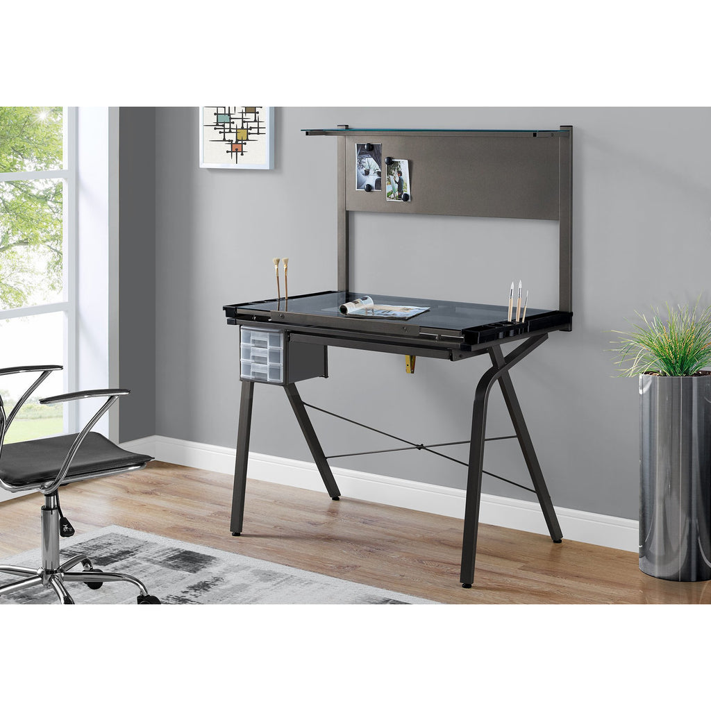 Homeroots Adjustable Tempered Glass Drafting Artist Table