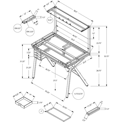 Image of Homeroots Adjustable Tempered Glass Drafting Artist Table