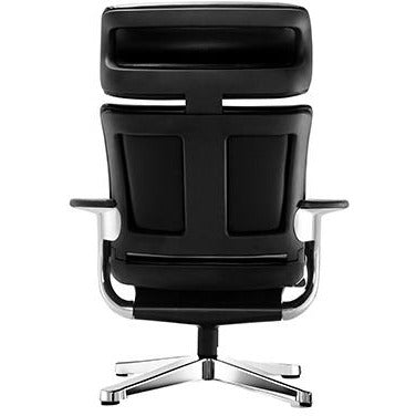 "Black Leather Chair with Laptop Tray 32.5"" x 32.3"" x 40.75"""