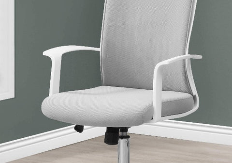 Image of Grey and White Fabric High Back Executive Office Chair