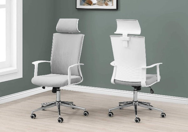 Grey and White Fabric High Back Executive Office Chair