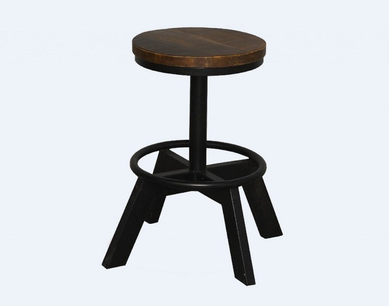 Industrial Dark Wood Crafting Stool