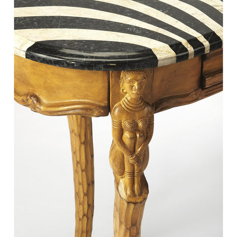 Image of Zebra Pattern and Stone Veneer Writing Desk